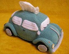 Crochet Patterns Gifts Amigurumi Volkswagen Beetle Volkswagen inspired bug car of Millionbells Crochet Car, Crochet Amigurumi, Crochet Home, Crochet Crafts, Crochet Projects, Tissue Box Covers, Tissue Boxes, Tissue Holders, Half Double Crochet