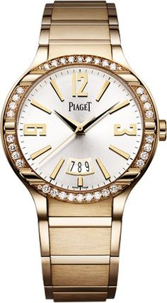 Lauren's watch -  Piaget Polo FortyFive watch - Ultra-thin, self-winding, pink gold, diamonds