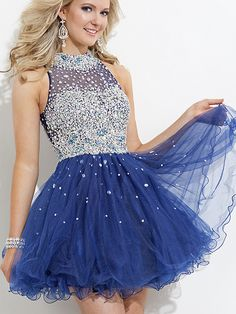 2014 Style A-line High Neck Rhinestone Homecoming Dresses/Cocktail Dresses #GC529
