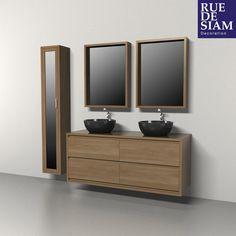 Meuble de salle de bain double vasques 120 cm colonne miroir milano chambre - Colonne salle de bain 30 cm largeur ...