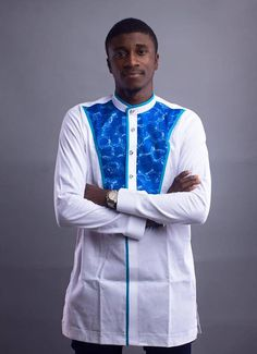 African Clothing with a touch of uniqueness. Made with Quality fabrics Machine washable and best for ANY event or outing African wax print Details If you have any question, please dont hesitate to contact us. African Shirts For Men, African Clothing For Men, African Men Fashion, African Attire, African Wear, African Dress, Dashiki For Men, African Dashiki, Costume Africain