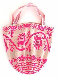 Authentic Wayuu Extra Large Mochila Tote Beach Bag OffWhite & Pink Crochet