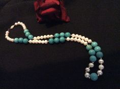 14k SOLID Gold Turquoise & Pearl Necklace  25 by BoutiqueGems21