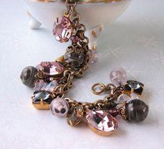 personalized gift charm bracelet vintage rhinestones