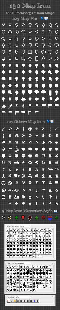 130 Map Icon Photoshop Custom Shapes - Symbols Shapes