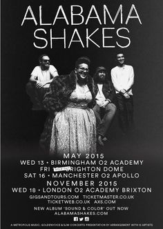 #AlabamaShakes are back! Having announced their new album Sound & Color back in February, the follow-up to their Grammy-nominated debut album Boys & Girls, the American rockers will play three further dates on top of their already announced Brighton Dome gig. Wednesday May 13 – Birmingham O2 Academy Friday May 15 – Brighton The Dome Saturday 16 – Manchester O2 Apollo Monday 18 – London O2 Brixton Academy  Tickets and information can be found here: www.gigsandtours.com