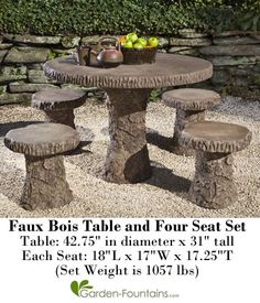 Faux Bois Table And Four Seat Set