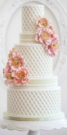 Wedding Cake - 'Garden Trellis' This delicate design captures the feeling of an afternoon wedding spent in an English garden.