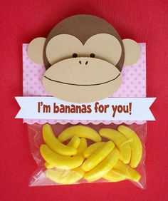 Bananas | 21 Totally Adorable Homemade Valentines To Make With Kids...my son has a girl in his class with a red dye allergy. This would be perfect!