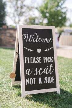 Welcome, please pick a seat not a side: http://www.stylemepretty.com/new-jersey-weddings/vernon-new-jersey/2017/01/17/from-friend-zone-to-the-prettiest-happily-ever-after/ Photography: Mekina Saylor - http://mekinasaylor.com/ and Cassidy K - http://www.cassadykphotography.com/