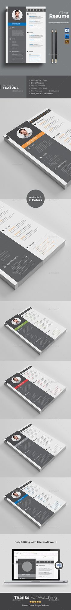 Buy Resume by themedevisers on GraphicRiver. Clean Resume / CV Template is the creative, clean, modern and professional resume template to help you land that gre. Nursing Resume Template, Teacher Resume Template, Modern Resume Template, Resume Template Free, Stationery Templates, Stationery Design, Print Templates, Simple Resume, Creative Resume
