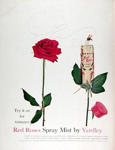 1960 Yardley Red Roses Mist Perfume Ad  - I remember this perfume