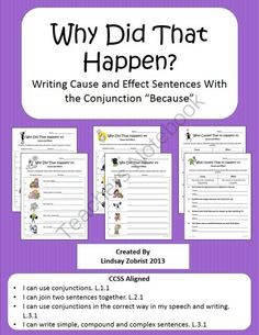 Cause and Effect: Why Did that Happen? Common Core Lesson from Common Core Corner on TeachersNotebook.com (13 pages)  - Cause and Effect Packet: Generous amounts of practice. Great for meeting Common Core State Standards!