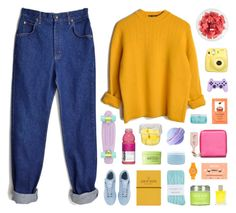A fashion look from December 2016 featuring wool sweater, lee jeans and blue socks. Mustard Yellow Sweater, Aveda, Fujifilm, Ootd, Fruit, Clothing, Sweaters, Polyvore, Fashion