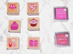 Stamp & Ink Cupcake Heart LOVE Owl Letter Ink Pad 6 STAMPS 2 INK Crafts Stampbook Art by SheCollectsICreate on Etsy