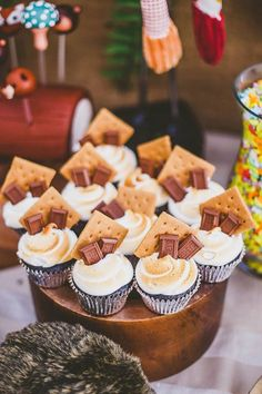 S'mores cupcakes from a Starry Nights & Campfires Themed Woodland Camping Birthd. :separator:S'mores cupcakes from a Starry Nights & Campfires Themed Woodland Camping Birthd. First Birthday Parties, First Birthdays, First Birthday Camping Theme, Birthday Themes For Kids, 9th Birthday, Kids Party Themes, Boy Birthday Cupcakes, Lumberjack Birthday Party, Bonfire Birthday Party