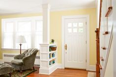 How to build a columned room divider and create an architectural feature that will gently redirect foot traffic while providing extra storage for books or even boots. | Photo: Ryan Benyi | thisoldhouse.com This Old House, Pony Wall, Cabinet Shelving, Half Walls, Front Rooms, Old Houses, Home Remodeling, Room Dividers, Room Divider Bookcase