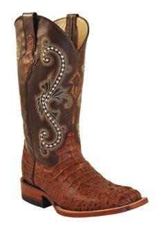 Ferrini USA Women's Sport Rust Print Caiman Crocodile S-toe Boots