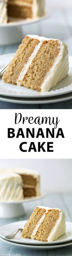 Banana Cake with Fluffy Cream Cheese Frosting via @cookingclassy