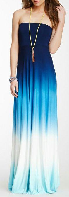 Ocean ombre | strapless maxi dress