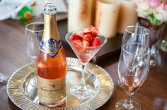 Champagne and strawberries = delicious