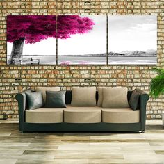 Pink Tree http://walldecordeals.com/product/3-panel-modern-printed-pink-tree-landscape-painting-picture-cuadros-decoracion-canvas-painting-for-living-room-no-framed-pr156/