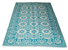 LEF collections Vloerkleed/ buitenkleed plastic turquoise blauw 120x180cm of 280x270cm