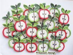 Häkelapplikationen - 2 Äpfel - ein Designerstück von Prinzessin-Design bei DaWanda