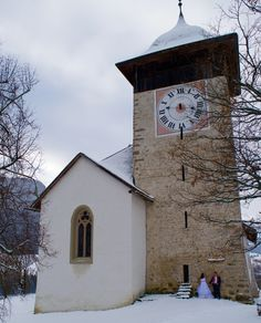 In a small town in switzerland - a local cathedral - - See more of our wanderlust wedding photos on our blog www.travelwheretonext.com