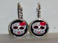 Ohrringe Eule Glas Modeschmuck Ohrschmuck Metall Legierung Cabochon Ø14mm