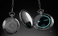 Digital Pocket Watch - seems like a bit much. Gadgets And Gizmos, Technology Gadgets, Tech Gadgets, Digital Pocket Watch, Modern Pocket Watch, Cool Watches, Watches For Men, Accessoires Iphone, Cool Inventions