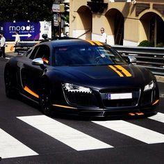 Matte black Audi r8 with stripes