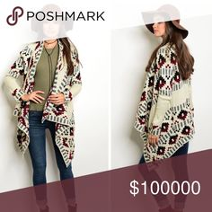 Arriving soon! Winter taupe/wine/black cardigan😊 Long sleeve open drape front heavy knit sweater cardigan with tribal print. Asymmetrical hemline and flowy front - stunning! Sweaters Cardigans