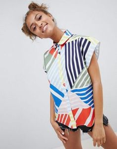 ASOS DESIGN Cotton Boxy Shirt In Bright Abstract