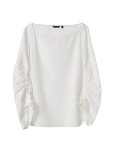 Textured weave blouse. Straight cut, boatneck, 7/8 length sleeves with adjustable tabs, gathered effect and side vents.