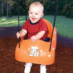 The Racing Roadster Toddler Swing lets your toddler cruise in style. This roadster comes complete with decal so you can personalize the swing and it comes with a safety belt for your peace of mind.
