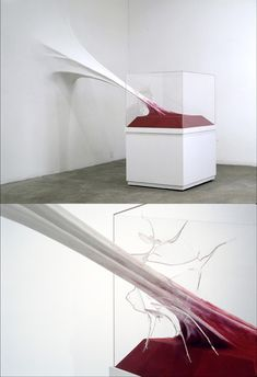 John von Bergen | Space: Activated This sculpture activates the space that it is in by having a pull against the wall and the box, almost like a tension between sculptures and painting