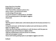 Jim Bob and Mae Recipe of the Day     Green Peas from Versailles   http://www.dailyrecipedoctor.com