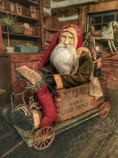 Stacee Droit - Santa in a Cart Pull-Toy Primitive Christmas Decorating, Primitive Santa, Prim Christmas, Primitive Crafts, Father Christmas, Country Christmas, Winter Christmas, Vintage Christmas, Christmas Crafts