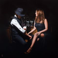 A signed limited edition artwork by popular contemporary artist Richard Blunt, entitled Heart To Forget Blunt Art, Tango Art, Fabian Perez, Jack Vettriano, Comic Art Girls, Girl Arm Tattoos, Couple Painting, Bar Art, Retro Art