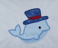 Whale with top hat sewn