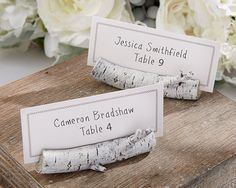 Rustic Wedding Birch Place Card Holders Rustic wedding table decor set of 6 birch look place card holders wedding favors. To the love birds getting married in a country-chic ceremony, to the woman hosting her autumn baby shower for an expecting little girl, and to the little man celebrating his first birthday with whimsical woodland creatures