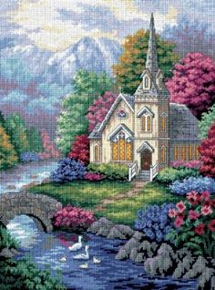 "Tranquil Church - Needlepoint Kit. A peaceful scene featuring a quaint church, mountains, flowers, and a gentle stream. The complete kit includes cotton thread, full color print on 14 Ct. mesh canvas, needle, and easy instructions. Designed by Nicky Boehme. Finished size is 12"" x 16""."