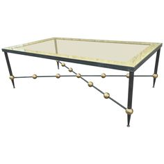 Rene Prou Large Wrought Iron Coffee Table with Gold Leaf Ball Details
