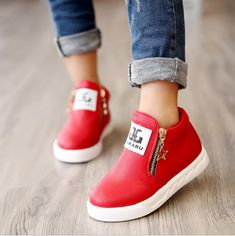 2016 New arrived Spring fashion girls boots children flat shoes zip red  black pink PU ankle kid shoes size - FASHION BookFace - Leading Global  Online ... 77d70e55a32c