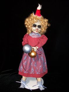 """Creepy Horror Altered Art Doll HolidayHorrible """"Christmas Carol""""OR """"Vikki Valentine?""""  Exclusively from Lorcheenas.  Salvage Artist L. Cerrito. """"Christmas Carol"""" aka """"Vikki Valentine"""" was created for holiday display but can be shared throughout the year as well. She was display doll that had been found and now re-imagined through the use of re-cycled and salvaged materials. Her head and limbs are bisque"""