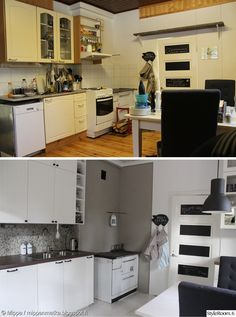 remontti,keittiö,ikea,country,maalaisromanttinen,rouhea,keittiön välitila,jokikivi,puuhella,keittiön kaapit,keittiön sisustus,keittiön valaistus,keittiön tasot,vaalea,maanläheinen,maalaistalo,vanha talo,ennen/jälkeen