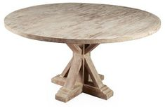 Mason Dining Table, Weathered Sand | One Kings Lane Luxury Dining Tables, Outdoor Dining Furniture, Round Dining Table, Dining Room Table, Kitchen Furniture, Kitchen Tables, Kitchen Nook, Primitive Furniture, Recycled Furniture