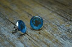 Blue Clockwork Stud Earrings on Etsy, £8.10