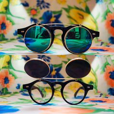 Do the right thing in these early 90s deadstock plastic round flip-up sunglasses! Revo mirrored lenses. Sunglasses flip up and clear glasses are